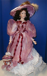 Porcelain Doll with Rose Dress